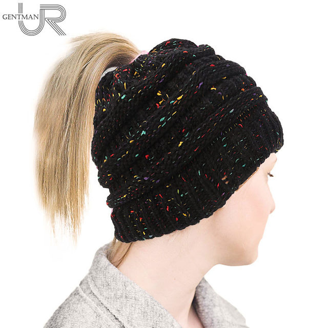 DropShipping Hot Sale Ponytail Beanie Hat Women Crochet Knitted Hat Warm Winter  Hat For Women Female 8c8068613ac