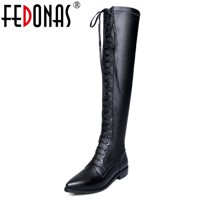 FEDONAS Women Over The Knee High Boots Sexy Long Autumn Winter Warm Boots Tight High Motorcycle Boots Genuine Leather ShoesWoman цены онлайн