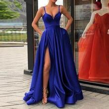 Элегантное Вечернее Платье трапеция с высоким разрезом атласное
