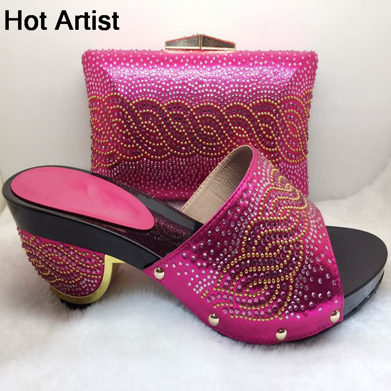 Hot Artist Italian Shoes With Matching Bag For Party African Woman Middle High Heels Shoes And Bag Set For Wedding TX-118 capputine new arrival fashion shoes and bag set high quality italian style woman high heels shoes and bags set for wedding party