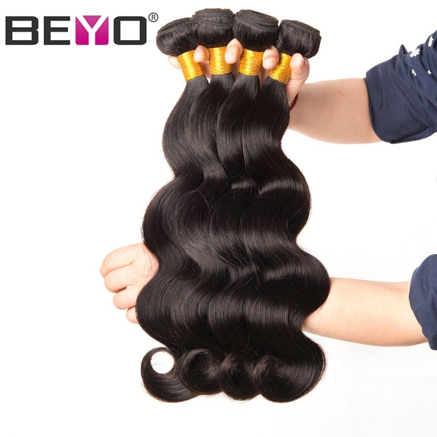 """Beyo מלזי גוף גל חבילות טבעי צבע שיער טבעי Weave חבילות 1/3/4 צרור עסקות שאינו רמי שיער הארכת 10 """"-28"""" אינץ"""