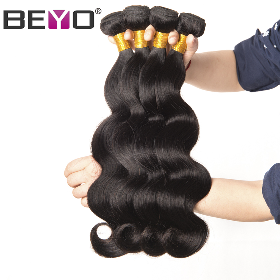 Malaysiska Body Wave Bundles 100% Human Hair Bundles 10-28 tum 1/3/4 Bundle Deals Natural Color Non Remy Hair Extension Beyo