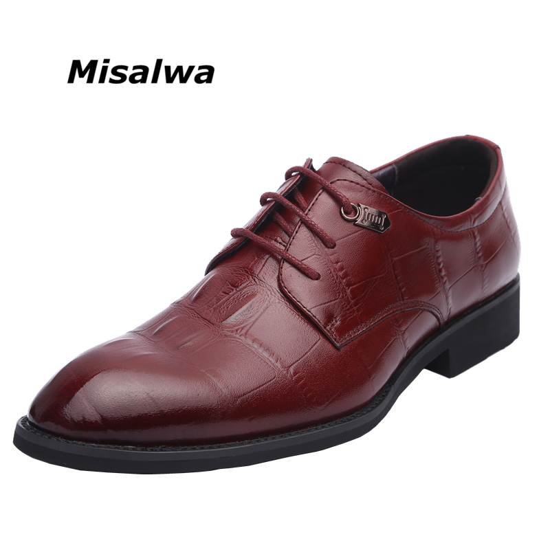 Misalwa 100 Genuine Cow Leather Men Wedding Dress Shoes Men Formal Luxury Oxfords Business Shoes