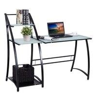 Стекло Топ письмо кабинет стационарный компьютер стол с полками столики под ноутбуки офисная мебель HW56319