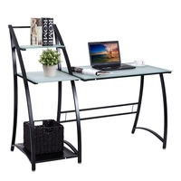 Glass Top Writing Study Table Computer Desk with Shelves Laptop Tables Office Furniture HW56319