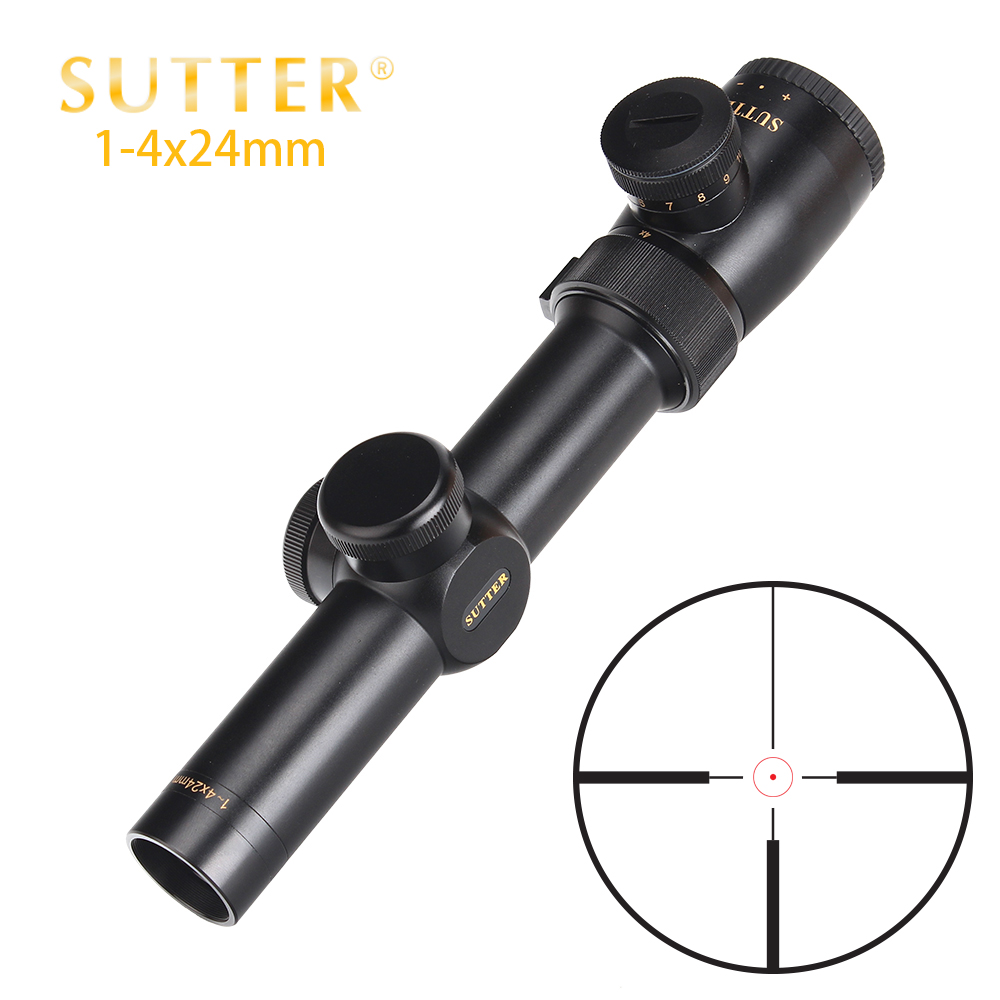 SUTTER 1-4X24 Compact Hunting Riflescopes R29 Glass Reticle Red Illuminate Optical Sight Turrets Reset Tactical Rifle Scope 1 4x24 r12 r29 glass reticle tactical riflescope red illuminate optical sight for hunting rifle scope