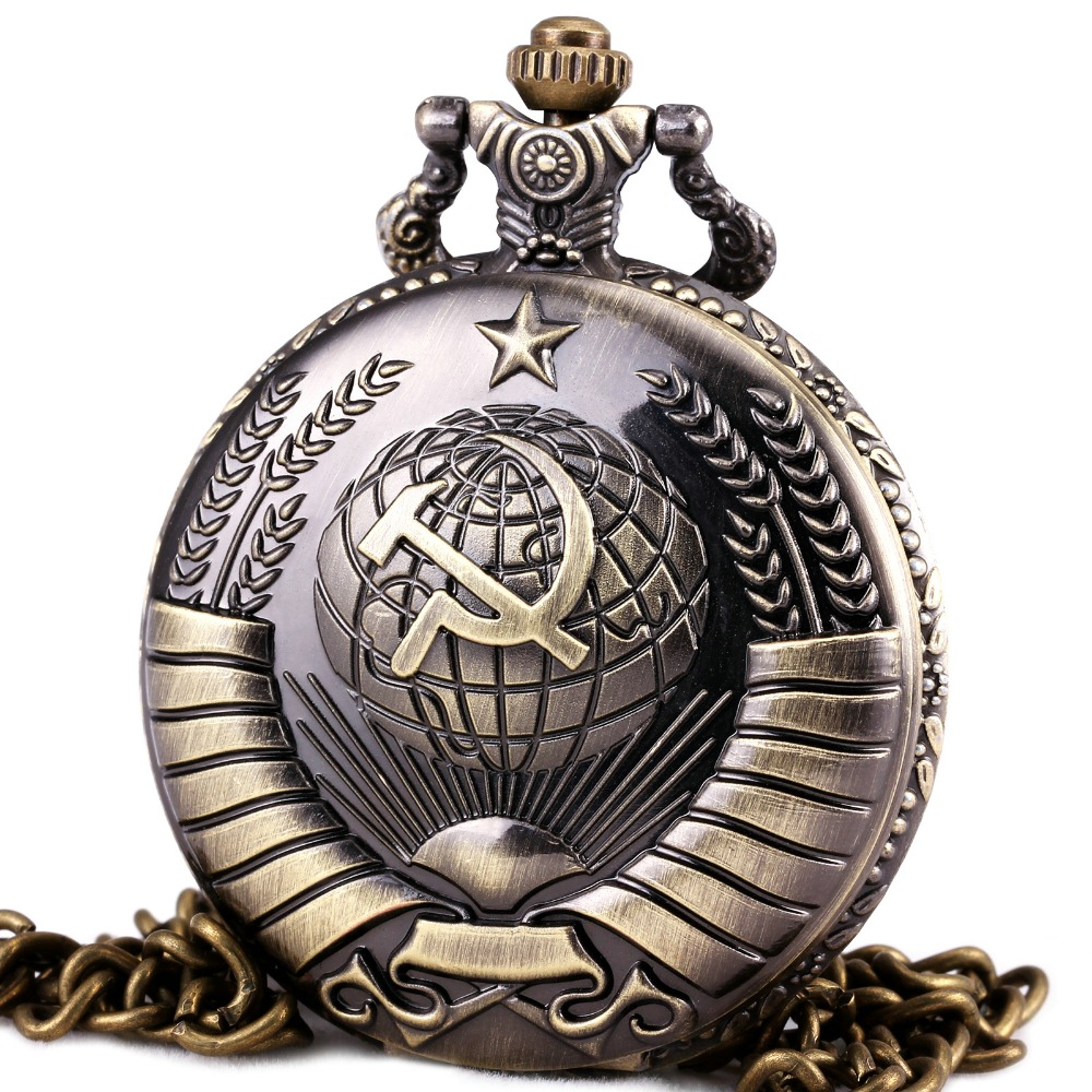 RUSSIA MOSCOW Soviet Souvenir Men POCKET WATCH QUARTZ STEAMPUNK WITH CHAIN Open faced Cover Army Style
