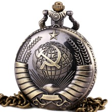Men Analog Quartz Pocket Watch Party Badge Open-faced Cover Army Style Pendant Gift For Men Bronze