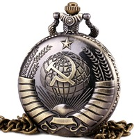 Men Analog Quartz Pocket Watch Party Badge Open Faced Cover Army Style Pendant Gift For Men