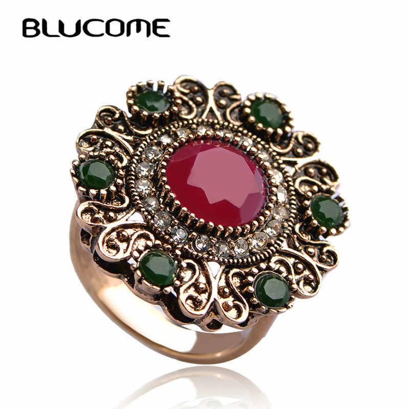 Blucome turco anel do vintage resina vermelha escultura guirlanda strass jóias festa banquete feminino tamanho grande dedo acessórios