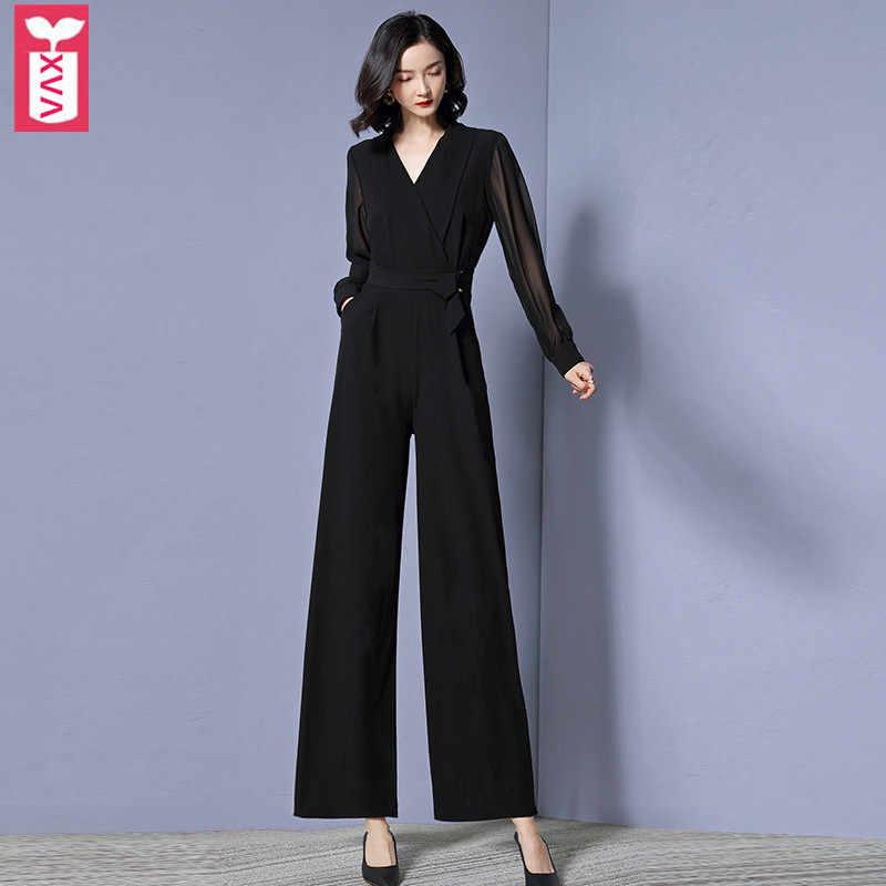 XVA Oficina señora manga larga cremalleras cinturón monos mujer negro mono mujer cuello en V pantalones largos de pierna ancha verano 2019