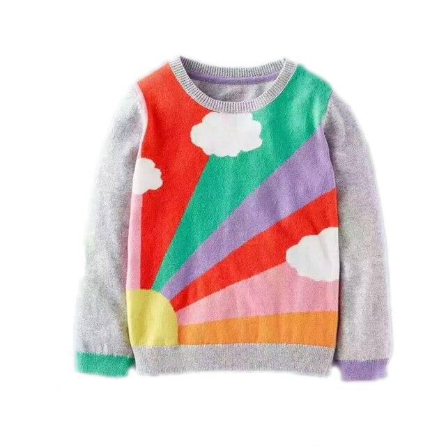 Зима вязаный свитер девушка 2017 новое прибытие девочка свитер радуги и облако печатных детский пуловер вязаный свитер пуловер