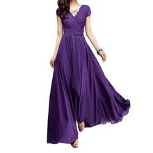 Women Dress Plus SizeSolid Color Party Gown V Neck Short Sleeve Slim Fit Maxi Boho Sexy Robe Femme