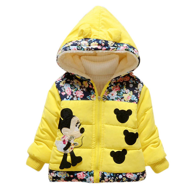 2016 New Autumn Winter Warm Thicken Padded Coat Girl Cute Cartoon Long Sleeve Hooded Fashion Down Jacket Children Clothing Coats