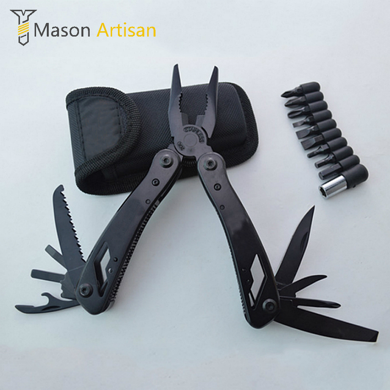 Multi Tool Folding Pliers with Knife Screwdriver Bits Camping Survival Multitool Hand Tools Ferramentas Para Bike Multitul motospeed v2 high precision usb 2 0 wired gaming optical mouse black