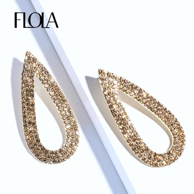 Flola Simple Teardrop Gold Dangle Earrings For Women Rhinestones Crystal Drop Statement Jewelry Orni