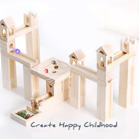 High quality Wooden Marble Race Run Maze Ball Track Building Blocks Funnel Slide Big Size Bricks Compatible Duploed Block
