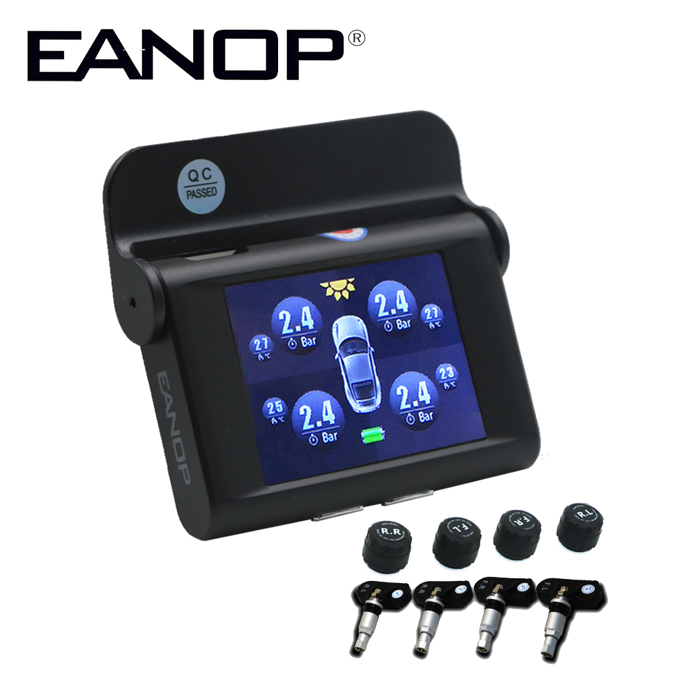 EANOP S368 Solar TPMS 2.4 inch Car Tire Pressure Monitoring System 4pcs Internal External Sensors ADAS Alarm For Toyota SUV ETC