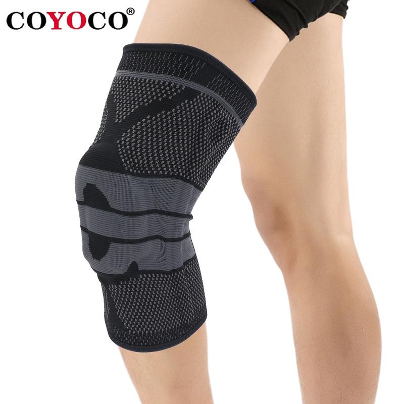 COYOCO Silicon Spring Support Knee Pad Brace 1 Pcs Leg Arthritis Injury Gym Sleeve Knee Pad Warm Black Grey Meniscus Kneepad