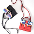 2016 Fashion brand personality graffiti color stitching ladies good quality mini chain flap shoulder bag messenger bag purse