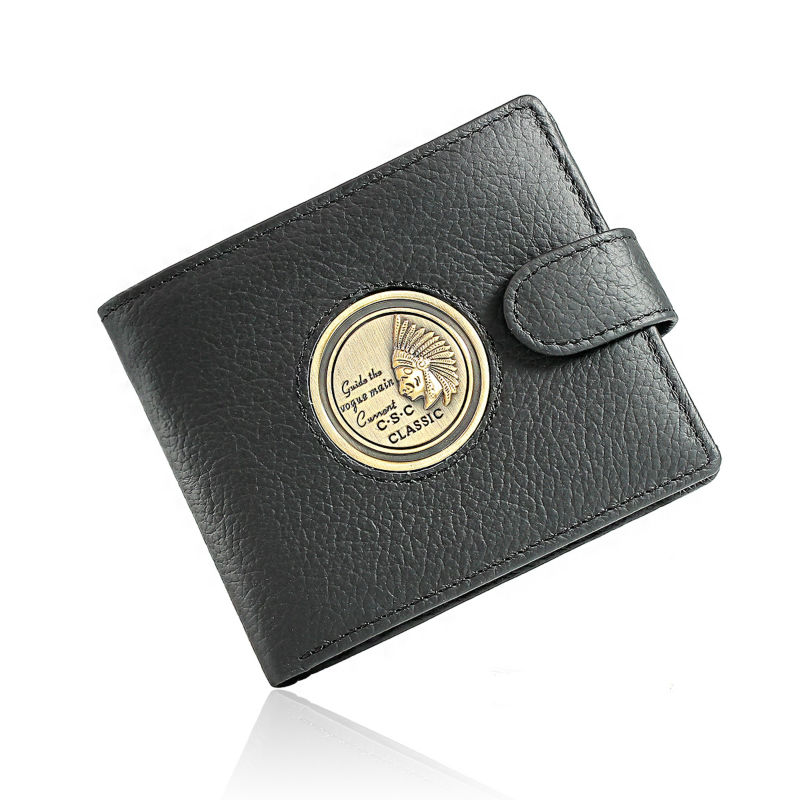 Mens Gentleman Black Real Genuine Cowhide Leather Bifold Clutch Wallet Coin Purse Pouch ID Card Dollar Package Indian Head