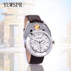 Image 3 - Aansteker Horloges mannen USB Opladen Quartz Horloge Militaire Vlamloze sigarettenaansteker outdoor mannelijke gift Horloges JH311