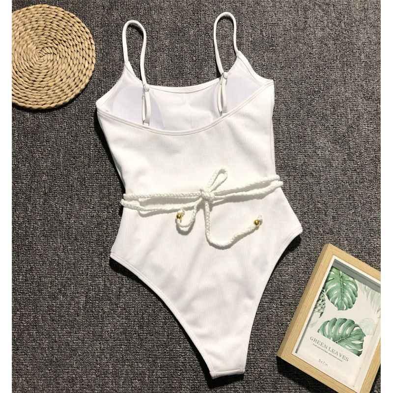 Женский цельный купальник, ребристый трикотажный сплошной цвет бикини, сексуальный Монокини с открытой спиной, плетеный пояс, купальный костюм с пуш-ап