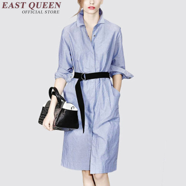 52cdcece981 women business casual clothing snap button long blouse dress light blue  women summer dress 2018 summerdress NN0707 HQ