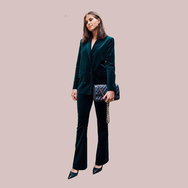 Pantalon Ensemble Mode Mince Bureau 2 Automne Top De Pièce Femmes Vert Dame Velours Costume Élégant Vêtements 2018 Pur Casual Lsysag Foncé 0HZSB