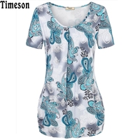 Summer Style Tops Short Sleeve O Neck Knitted Women T Shirts Elegant Pleated Floral Print Basic