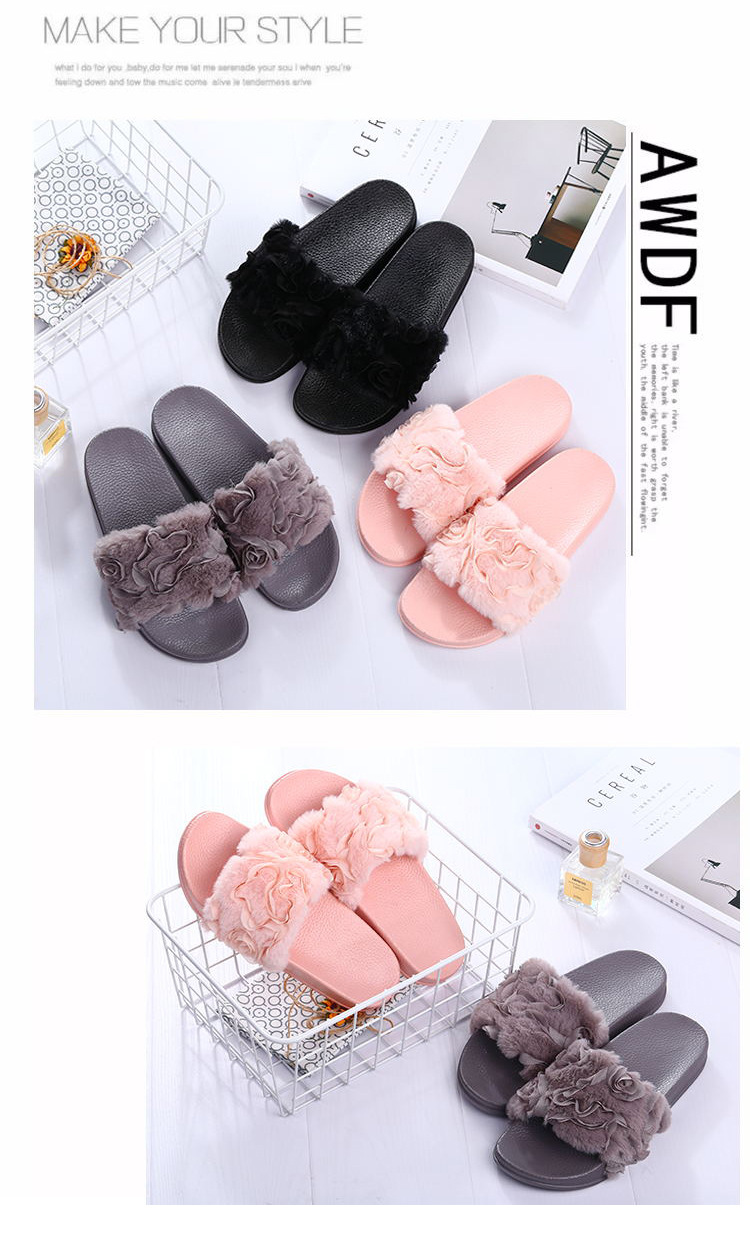HEE GRAND Women Winter Rose Slippers Flock Fashion Plush Shoes Women ... e2fd7f430558