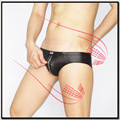 Calecder faux leather sexy panties male panties triangle panties low-waist zipper panties 1227