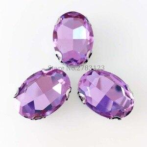 Высокое качество шитья на камнях, стекло кристалла овальная форма коготь горного хрусталя, кристаллическое фиолетовое свадебное вечернее ...
