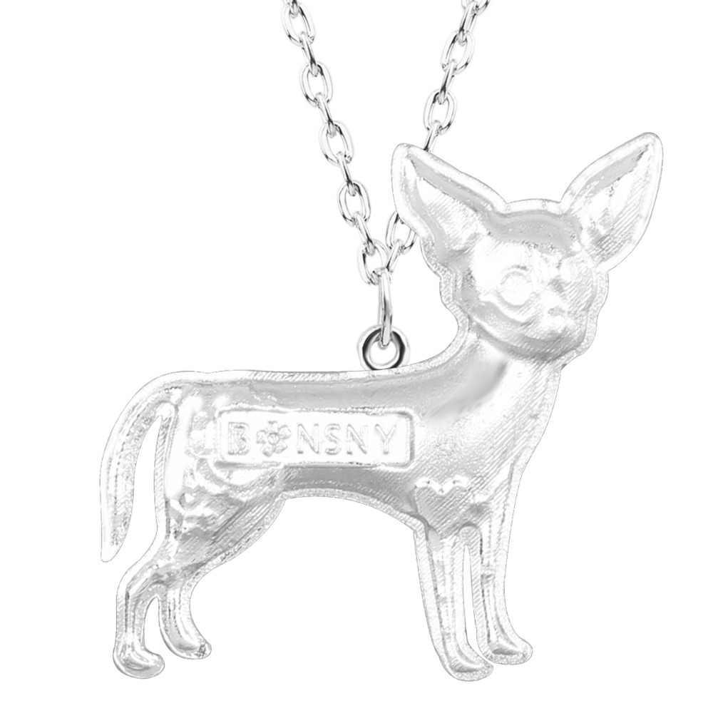 Bonsny ماكسي بيان سبائك معدنية Chihuahuas الكلب المختنق قلادة سلسلة طوق قلادة موضة جديدة المينا مجوهرات للنساء