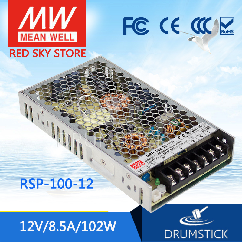 Genuine MEAN WELL RSP-100-12 12V 8.5A meanwell RSP-100 12V 102W Single Output with PFC Function Power Supply [cheneng]mean well original rsp 100 48 48v 2 1a meanwell rsp 100 48v 100 8w single output with pfc function power supply