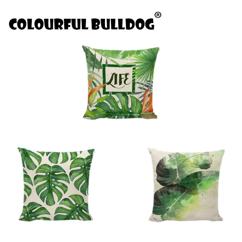 Plantas tropicales hojas verdes Fundas de colchón Decoración para el ...