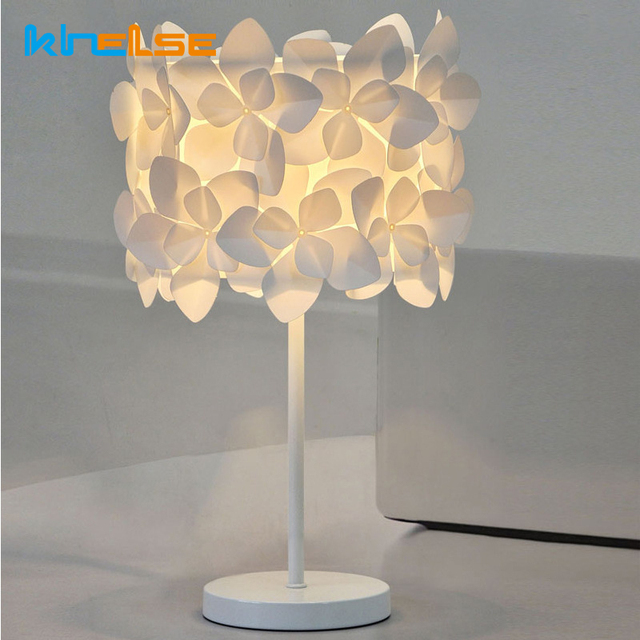 Table Lamp E14 Led Bulb Bedside Lamp Pink Flower Deco Led Desk Lamp