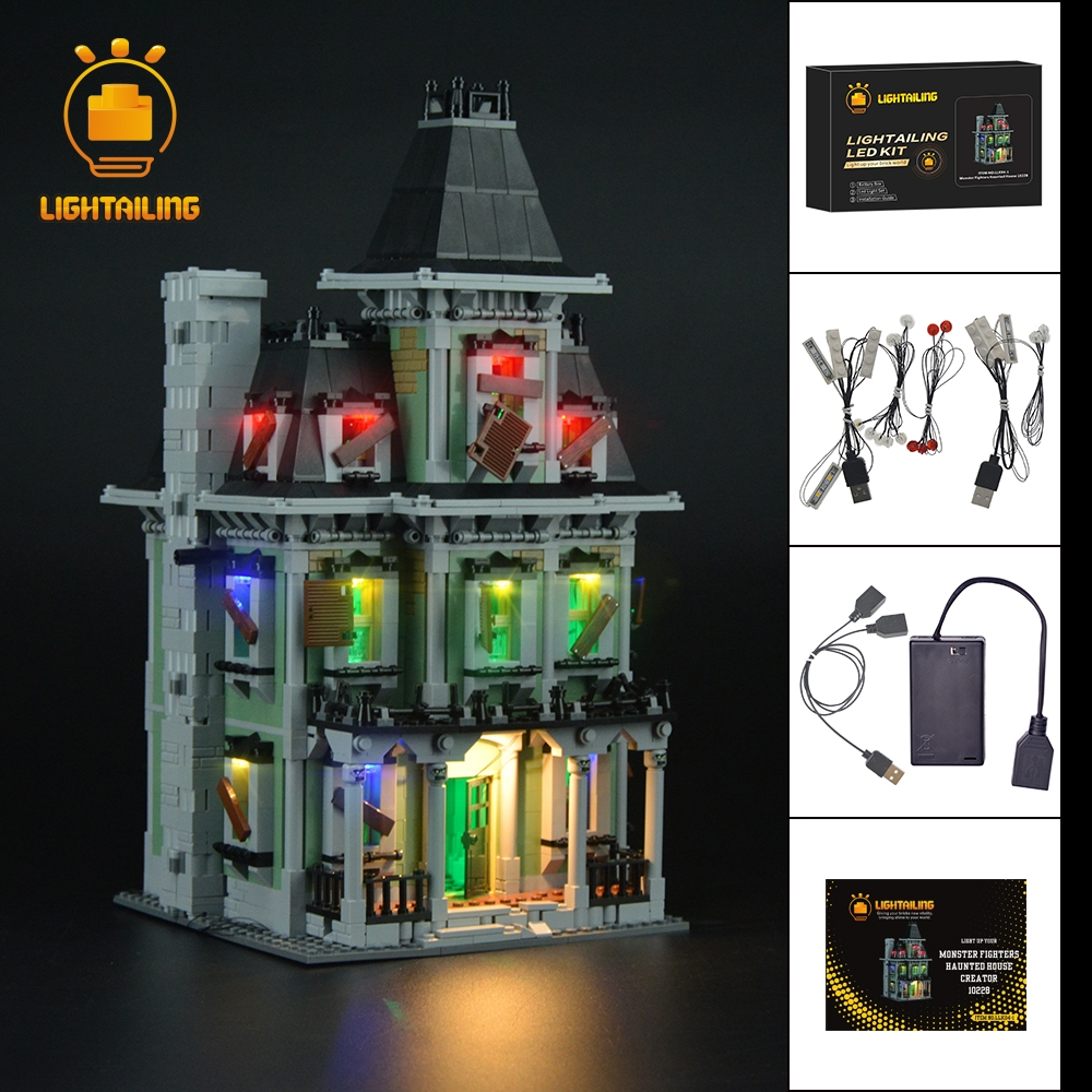 LIGHTAILING LED Light Up Kit For City Monster Fighter Haunted House Building Model Light Set Compatible With 10228 And 16007 led light up kit gor city model building block figures accessories kit toys for children compatible with lepin