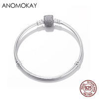 Anomokay Classic 100% 925 Sterling Silver Basic Pandora Bracelet Chain with Silver Snake Clasp Fit Charm Bracelets & Necklaces