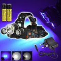 High Power UV 5000Lm T6+2R5 LED Headlamp 3-Mode Headlight Flashlight Head Lamp+ Charger + 2x 18650 Battery For  Outdoor Hunting