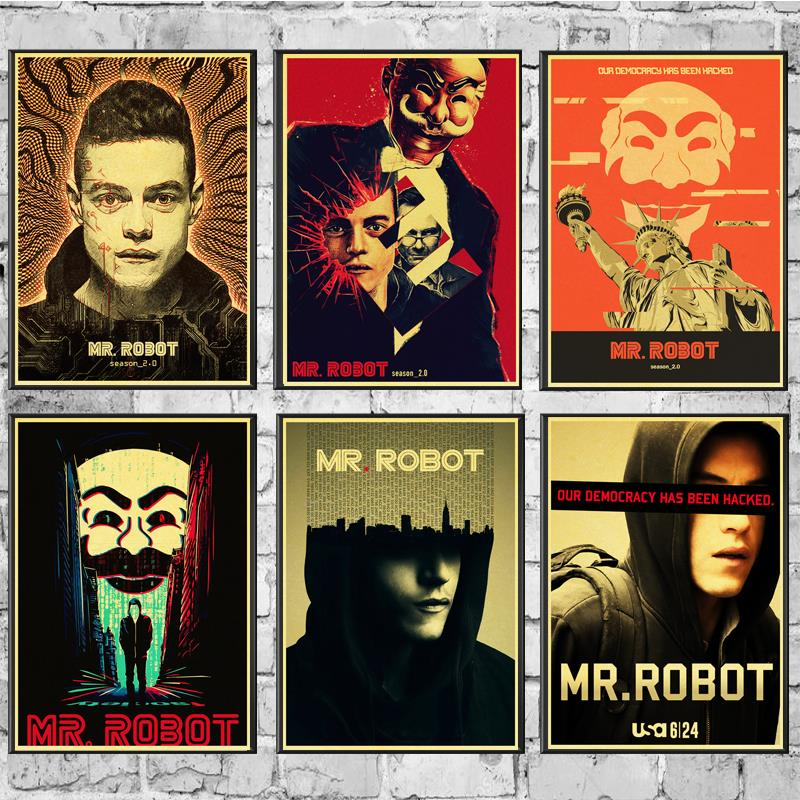 Movie Poster MR. Robot Wall Stickers Vintage Poster Prints High Quality For Living Room Home Decor