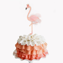 Big Flamingo Cake Toppers Happy Birthday Baby Shower Flag Wedding Party Summer Holiday Decor DIY