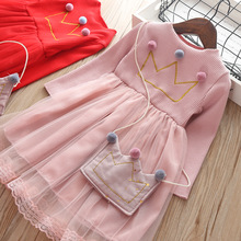 baby girls dress autumn Spring clothing for Children cotton Princess dresses kids Clothes with bag 0-4 Years fashion Tutu dress w l monsoon baby girls dress with sashes 2017 autumn brand princess dress girls clothing flower kids dresses children clothes