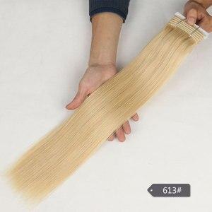 Image 4 - Şık çift çizilmiş düz saç P6/613 sarışın P27/613 brezilyalı İnsan saç demetleri 1 adet sadece Remy uzantıları ücretsiz kargo