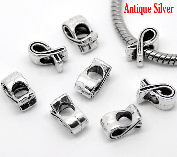DoreenBeads 50PCs antique silver Intersect Spacers Beads Fit European Charm 11x6mm 2015 new