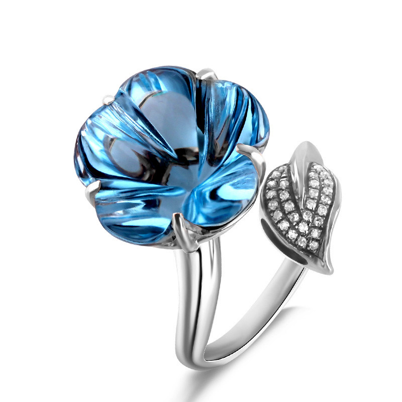 Natural Topaz Ring 925 Sterling silver Flower Cut Fine Elegant Crystal Womens Jewelry Luxury Birthday Birthstone Christmas GiftNatural Topaz Ring 925 Sterling silver Flower Cut Fine Elegant Crystal Womens Jewelry Luxury Birthday Birthstone Christmas Gift