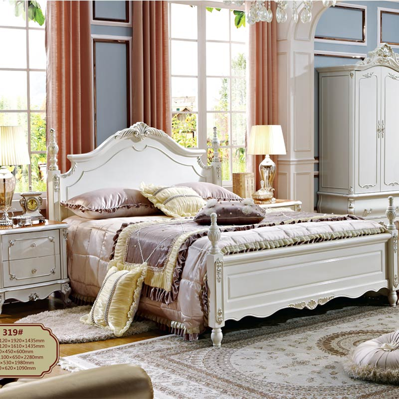 french style king size bedroom furniture antique wooden bed design-in bedroom sets from
