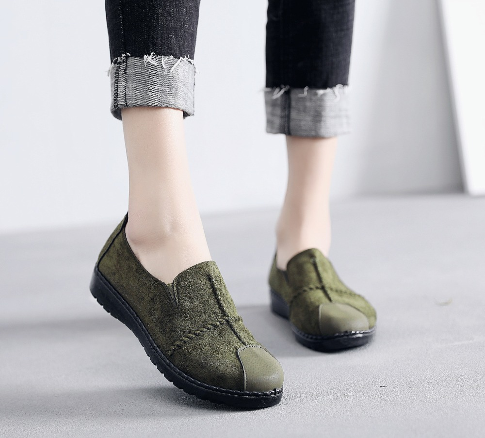 Plus Size Summer Women Flats Fashion Splice Flock Loafers Women Round Toe Slip On Leather Casual Shoes Moccasins New 2019 VT209 (17)