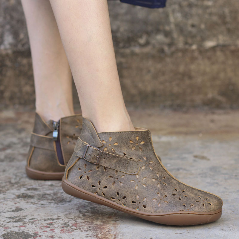 IMTER Summer Boots Women Genuine Leather Woman Ankle Boots Hollow-out Womens Summer Shoe ...