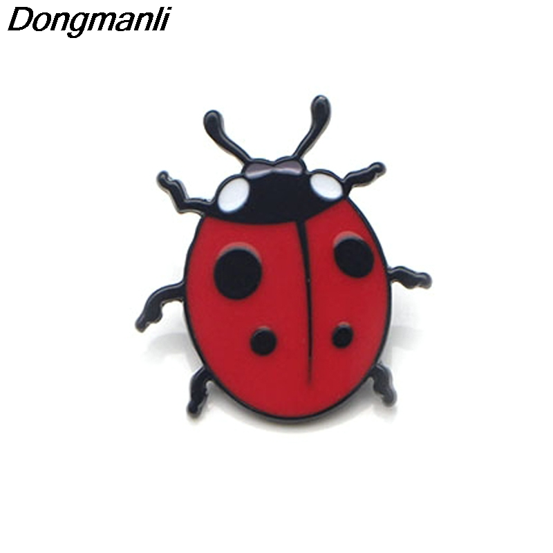 P2718 Dongmanli Cute Red Ladybug Enamel Pins And Brooches For Women Men Lapel Pin Backpack Badge Kids Gifts